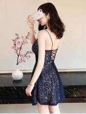 Deep V Neck Lace Criss Cross Strap Dresses