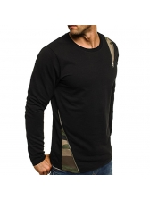 Casual Camouflage Patchwork Long Sleeve Tee Shirts