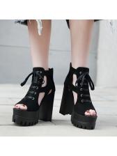 Roman Style Hollow Out Lace Up Platform Sandals
