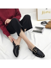 Chic Rivet Pointed Square Buckle Closed Toe Slippers
