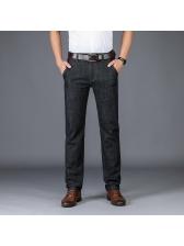 Solid Business Straight Cozy Long Denim Pants