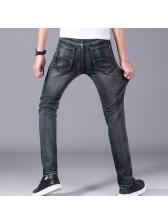 Solid Flexible Straight Zipper Up Denim Long Pants