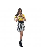 Fashion Letter Crop Plaid Skirt Sets