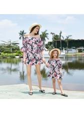 Boat Neck Flower Ruffles Short Dress Family Sets