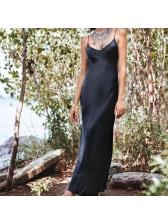 Sexy V-Neck Slit Satin Sleeveless Maxi Dresses