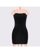 Sexy Solid Spaghetti Straps Slim Mini Dresses