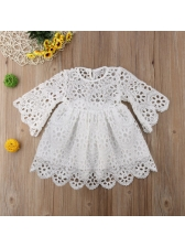 Crew Neck Hollow Out White Dress Family Sets