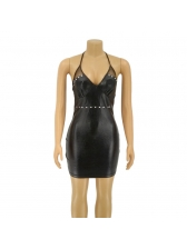 Sexy Bodycon Low-Cut Halter Leather Bandage Dresses