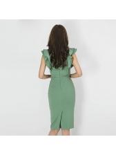 Ruffle Bodycon Square Neck Green Dress