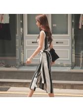 Striped V Neck Binding Bow Wrap Dress