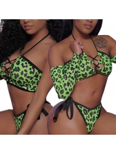 Leopard Printed Long Sleeve Swimsuit Sets