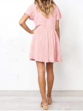 Simple Design Ruched Solid Short Sleeve Dresses