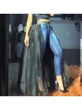 Euro Split Hem Elastic Waist Gauze Maxi Skirt