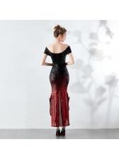 Evening Gradient Color Off Shoulder Ladies Dresses