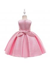 Euro Satin Beading Sleeveless Girls Flower Dresses
