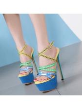 Stylish Letter Multi-Color Platform Ankle Straps Sandals