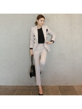 Plaid Lapel Double-breasted Slim Fit Women Suits