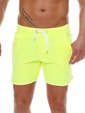 Beach Solid Drawstring Short Pants