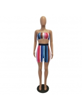 Sexy Wrapped-Chest Striped Crop Women Sets