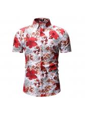 Vintage Floral Short Sleeve Mens Shirts