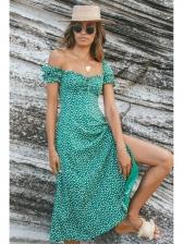 Casual Boat Neck Floral Woman Midi Dress