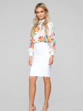 Spring Printed Mock Neck Ruched White Blouse