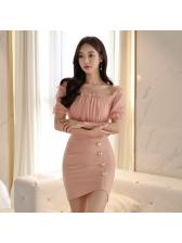 Patchwork Off Shoulder Blush Coloured Bodycon Dress