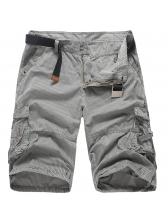 Men Striped Pocket Casual Solid Half Pants
