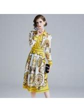 Printed Turndown Collar Vintage Dresses