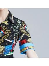 Vintage Printed Turndown Collar Midi Dress