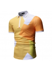 Color Block Turndown Neck Fitted Polo Shirts