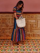 Casual Colorful Striped Maxi Dress