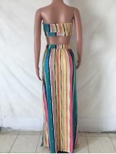 Striped Strapsless Crop Top With Split Hem Skirt