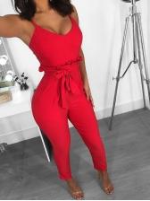 Sexy V Neck Tie-Wrap Solid Straps Jumpsuit