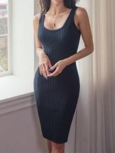 Knitting Crew Neck Bodycon Dress