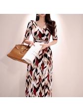 Printed Color Block Binding Bow Maxi Dresses