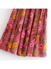 Beach Style Large Hem Floral Maxi Skirt For Women
