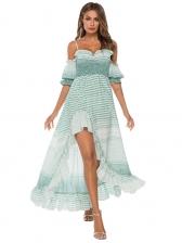 Beach Printed Off Shoulder High Low Dress