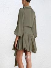 V Neck Tie-wrap Asymmetrical Dress