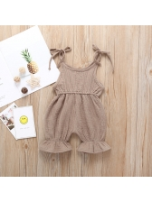 Solid Round Collar Tie Shoulder Baby Jumpsuits