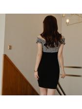 Plaid Patchwork Bodycon Off The Shoulder Dress