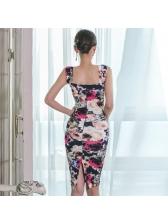 Ladies Bodycon Sleeveless Floral Dresses