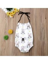 Rabbit Printed Binding Bow Sleeveless Girls Romper