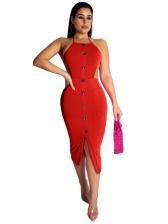 Sexy Sleeveless Button Decor Solid Bandage Dresses