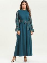 Muslim Plaid Tie-Wrap Green Maxi Dresses