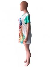 Crew Neck Cartoon Printed T-Shirt Dress