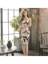 OL Style Printing Sleeveless Bodycon Dress