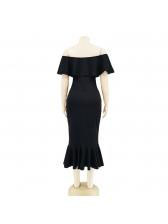 Off Shoulder Ruffle Hem Solid Dresses