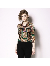 Vintage Printed Turndown Neck Woman Blouse
