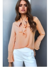 Fresh Tie-wrap Bow Tie Collar Solid Blouse